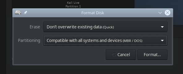 Formatting USB stick